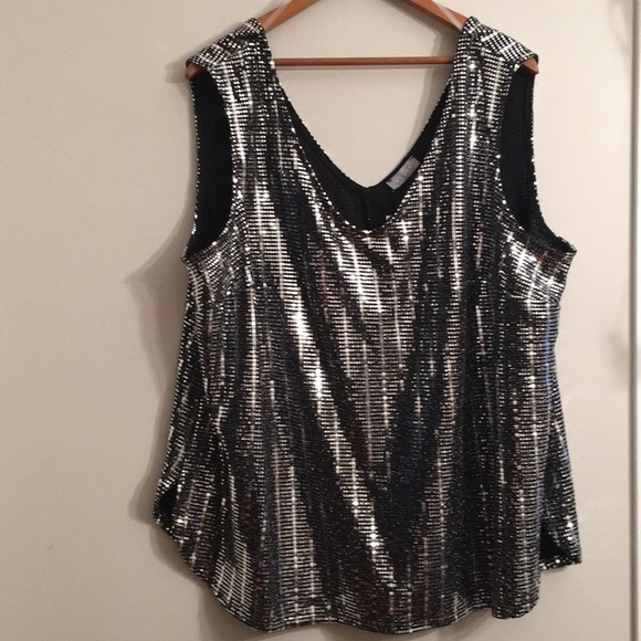 NWT sparkly and classy silver Kenar tank top